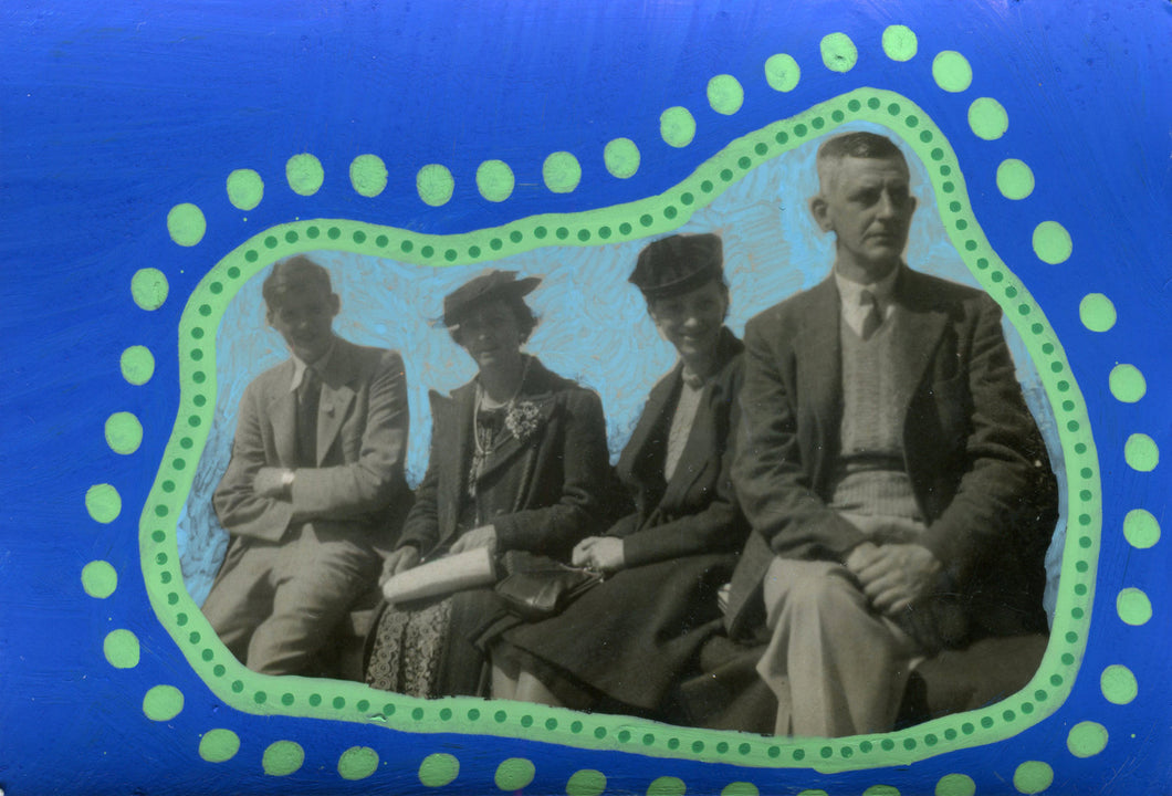 Blue And Green Art Work Collage On Vintage Photography - Naomi Vona Art
