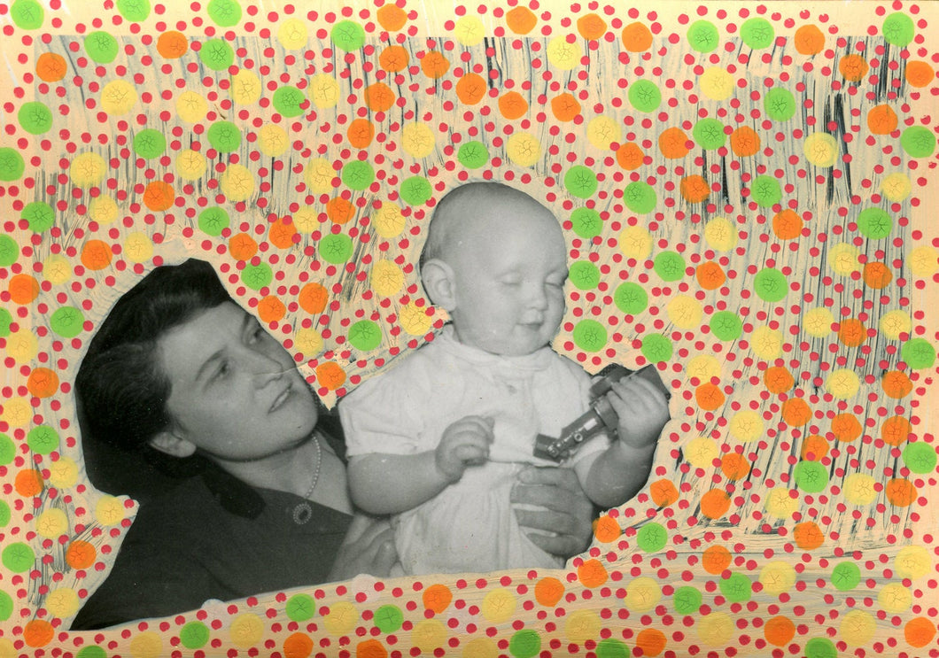 Mother And Baby Art Collage Created On Small Vintage Photography - Naomi Vona Art