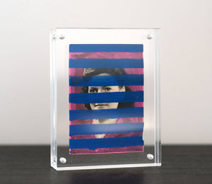 Altered Vintage Portrait Photo Decorated With Stripes - Naomi Vona Art