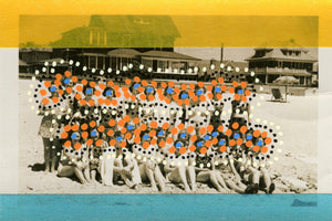 Collage On Vintage Group Photo Of Women On The Beach - Naomi Vona Art