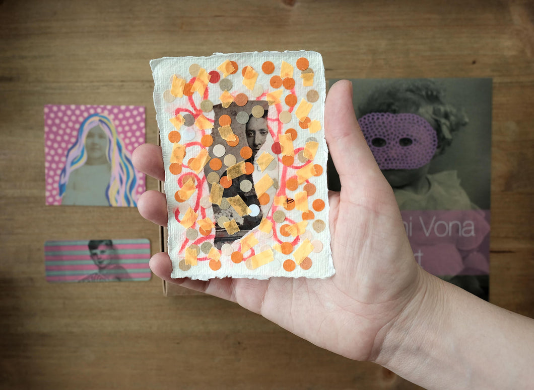 Tiny Fluorescent Collage On Cotton Rag Paper - Naomi Vona Art