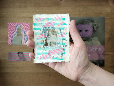 Beige, Neon Pink And Mint Green Aceo Collage - Naomi Vona Art