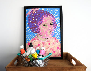 Fine Art Print Of Vintage Baby Girl Portrait Collage - Naomi Vona Art