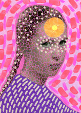 Load image into Gallery viewer, Manipulated Vintage Girl Portrait, Surreal Pink Art Collage Print - Naomi Vona Art