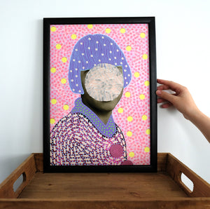 Pastel Shades Giclee Art Print Of Vintage Collage Portrait Photo - Naomi Vona Art