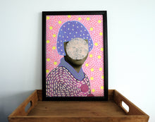 Load image into Gallery viewer, Pastel Shades Giclee Art Print Of Vintage Collage Portrait Photo - Naomi Vona Art