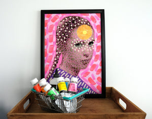 Manipulated Vintage Girl Portrait, Surreal Pink Art Collage Print - Naomi Vona Art
