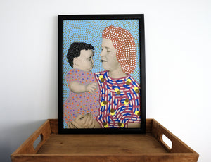 Mother With Baby Contemporary Vintage Collage Reproduction - Naomi Vona Art