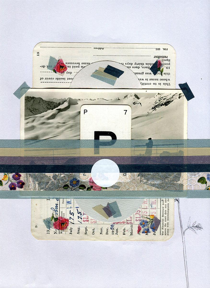 Vintage Mixed Media Landscape Collage - Naomi Vona Art