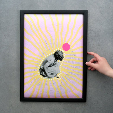 Pastel Pink And Yellow Wall Art, Surreal Collage Print Gift - Naomi Vona Art