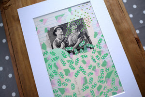 Mint Green Collage, Mixed Media Artworks Using Vintage Pictures - Naomi Vona Art