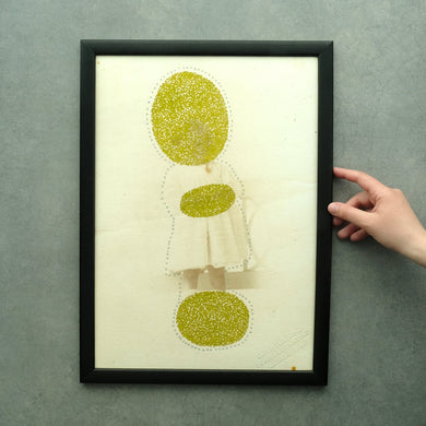Vintage Style Print Of A Baby, Golden And Cream Artwork - Naomi Vona Art