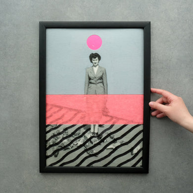 Neon And Grey Wall Fine Art Print, Vintage Style Collage - Naomi Vona Art
