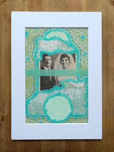 Mint Green Original Mixed Media Collage, Wedding Artwork - Naomi Vona Art