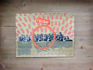 Vintage Classroom Photo Altered With Found Paper - Naomi Vona Art