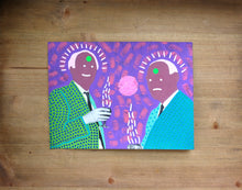 Load image into Gallery viewer, Funny Art On Vintage Photo Of Two Men Drinking - Naomi Vona Art