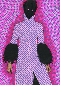 Pink And Purple Fashion Altered Woman Portrait - Naomi Vona Art