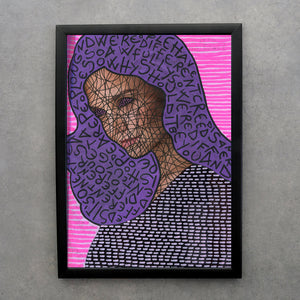 Purple And Neon Pink Made To Order Giclee Fine Art Print - Naomi Vona Art