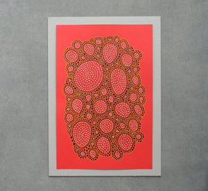 One Of A Kind Abstract Art On Bright Red Paper - Naomi Vona Art