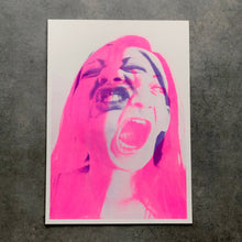 Load image into Gallery viewer, Neon Pink And Purple Risograph Wall Art Print - Naomi Vona Art