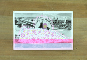 Fluorescent Pink Altered Art Of Vintage Landscape Postcard - Naomi Vona Art