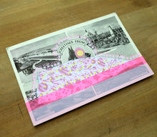 Load image into Gallery viewer, Fluorescent Pink Altered Art Of Vintage Landscape Postcard - Naomi Vona Art