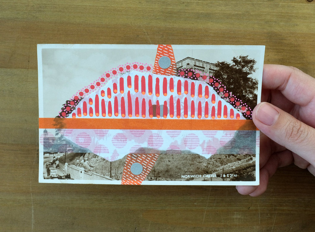 Retro Old Postcard Of Norwich Castle Altered By Hand - Naomi Vona Art