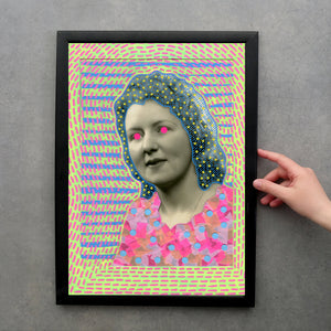 Neon Fine Art Print Of Vintage Woman Portrait - Naomi Vona Art