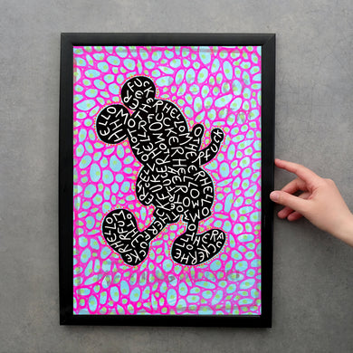 Original Mouse Fine Art Print, Fluorescent Pink And Blue Art - Naomi Vona Art