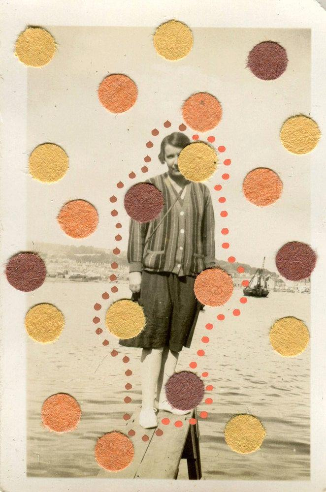 Vintage Found Photo Decorated With Pens And Paper - Naomi Vona Art