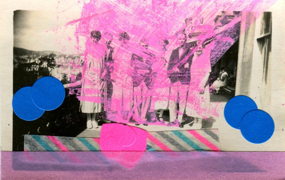 Mixed Media Collage Art Altered With Fluorescent Pink - Naomi Vona Art