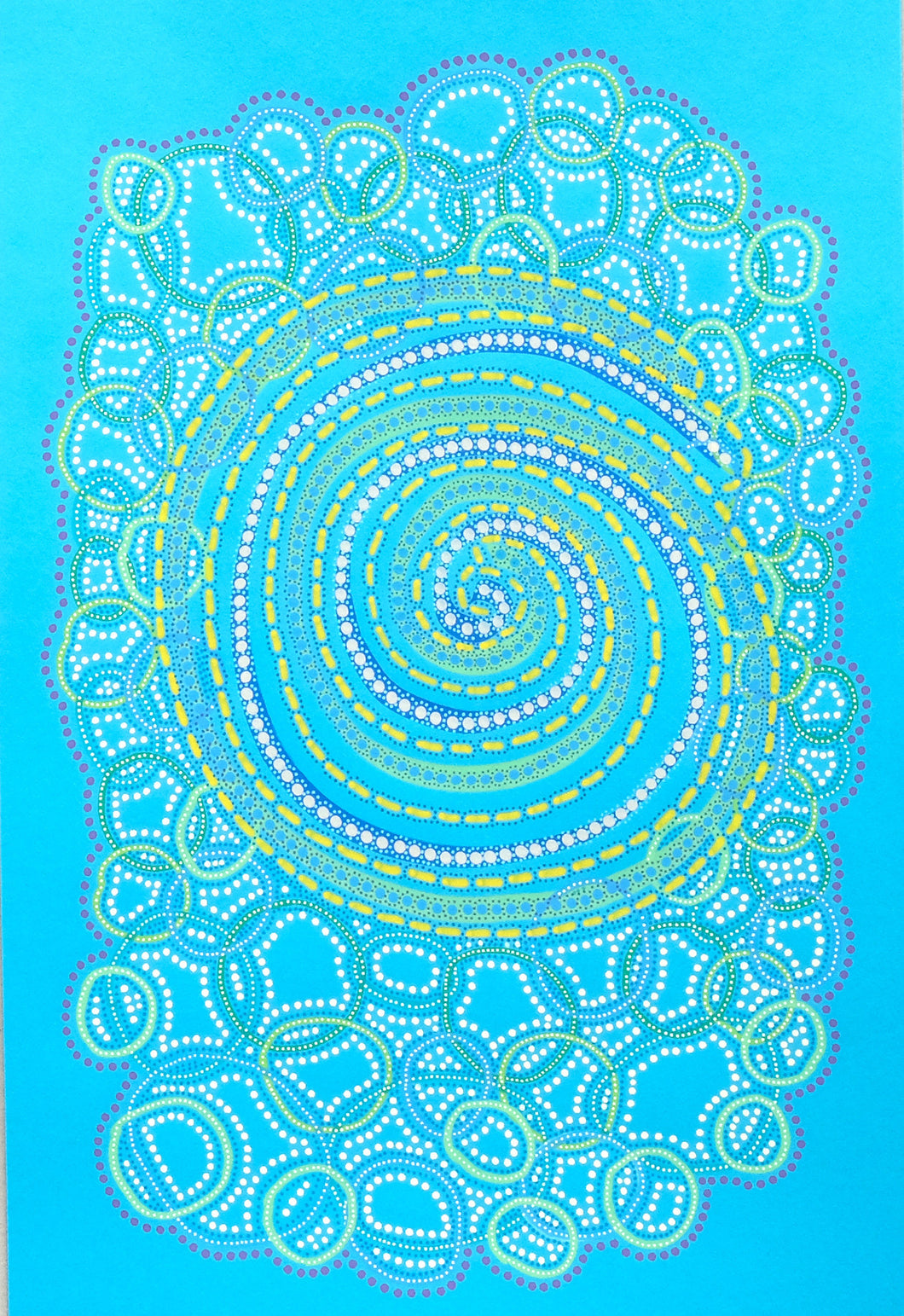 Bright Turquoise Contemporary Abstract Drawing - Naomi Vona Art