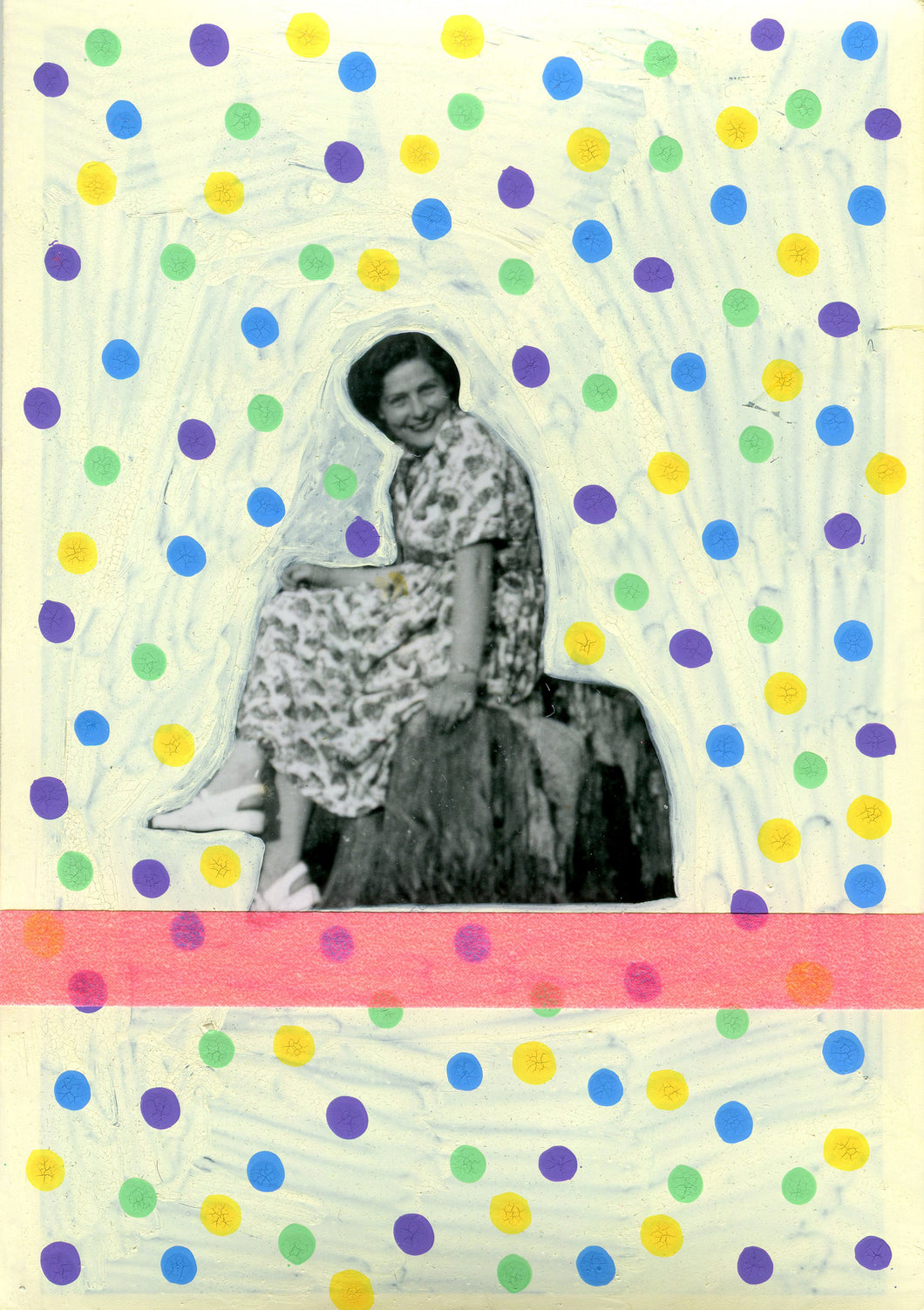 Confetti Art Collage On Vintage Photo Of Happy Woman - Naomi Vona Art
