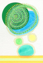 Load image into Gallery viewer, Green Turquoise Contemporary Collage On Watercolor Paper - Naomi Vona Art