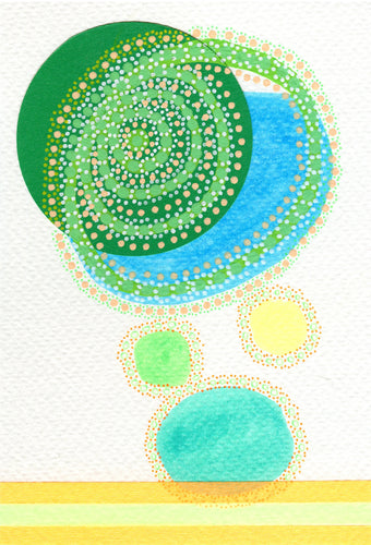 Green Turquoise Contemporary Collage On Watercolor Paper - Naomi Vona Art