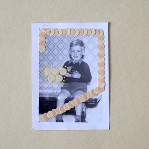 Little Boy Vintage Portrait, Collage On Found Retro Photo - Naomi Vona Art