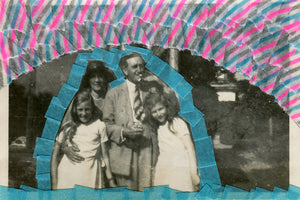 Family Portrait Art Collage On Vintage Portrait Photo - Naomi Vona Art