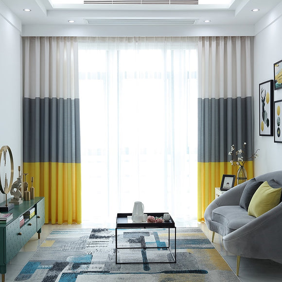 Simple Yellow-Gray Linen Curtains