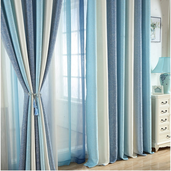 Blue Striped Printed Blackout Curtains