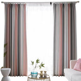 Pink & Grey Striped Curtain