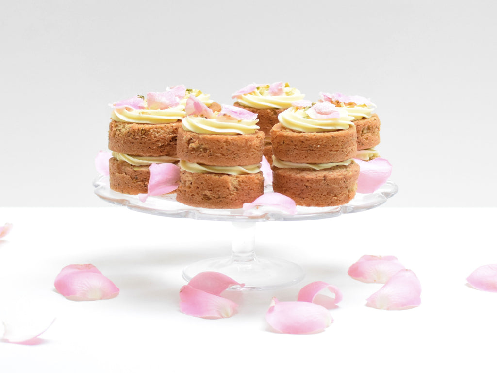 Pistachio and Rosewater Syrup Mini Layer Cakes