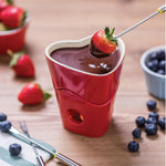 Tala Originals Red Heart Fondue Set with 4 Stainless Steel Forks