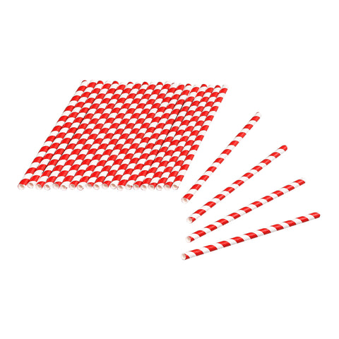 Tala 24 Red / White Striped Paper Straws