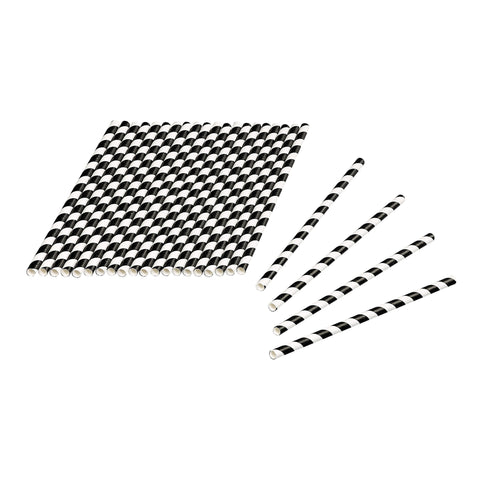 Tala 24 Black / White Striped Paper Straws