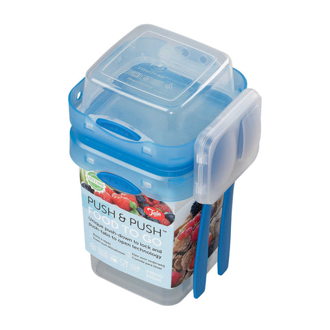 Push & Push Food To Go Storage Container 650ml / 230ml with Cutlery Set