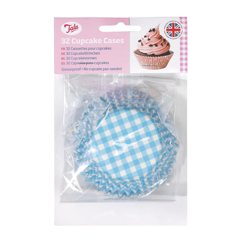 Tala 32 Blue Gingham Cupcake Cases