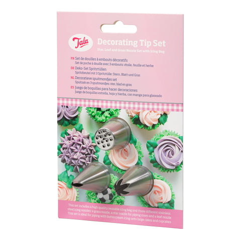 Tala Decorating Set – Star Leaf And Grass Nozzles With Icing Bag
