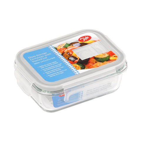 Glass storage container with Vented lid