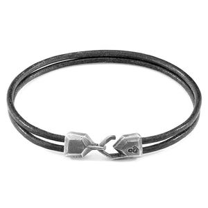 ANCHOR & CREW - SHADOW GREY CROMER SILVER & LEATHER BRACELET