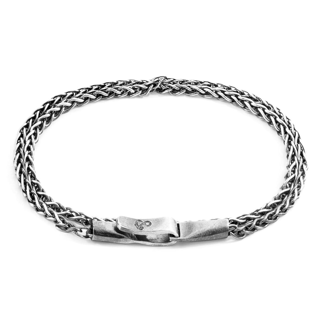 ANCHOR & CREW - STAYSAIL DOUBLE SAIL SILVER CHAIN BRACELET